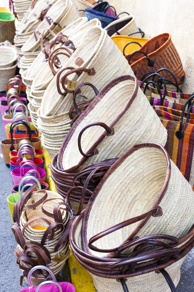 bags, market in Forcalquier, Provence, France