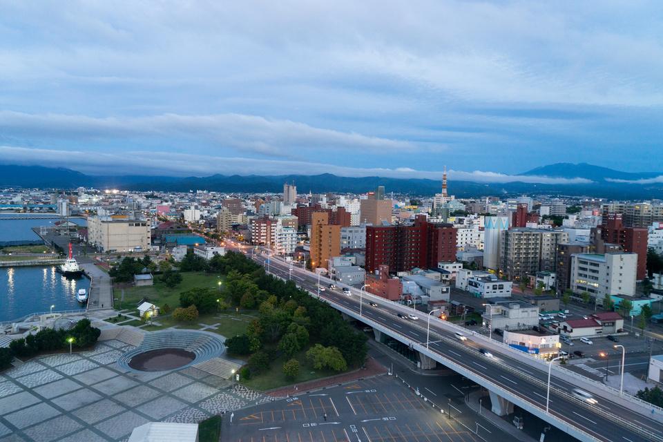 アスパム展望台から見る青森市内の風景